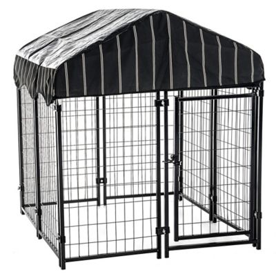 lucky dog pet resort kennel with cover 52 in h x 4 ft w x 4 ft l cl 60445