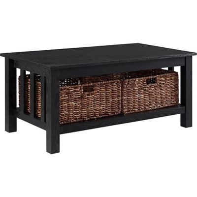 walker edison wood storage coffee table with totes 22 x 40 x 18 in c40mstwo
