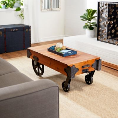 rustic wood cart coffee table
