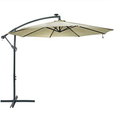 sunnydaze decor 10 ft steel offset solar led patio umbrella with cantilever jlp