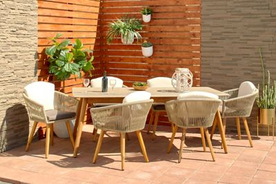 harper willow set of 2 modern indoor and outdoor dining chair with acacia wood legs and decorative rope detail 77406