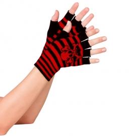 Fingerless Gloves Red Skull and Crossbone