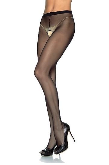 Plus Size Sheer Nylon Crotchless Pantyhose