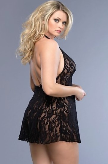 PS Rose Lace Halter Chemise and Matching G-String