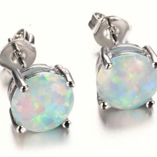 Round Opal Stud Earrings