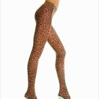 Leopard Print Opaque Pantyhose