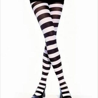 B&W Wide Striped Tights
