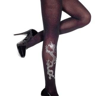 Dragon Print Black Opaque Pantyhose