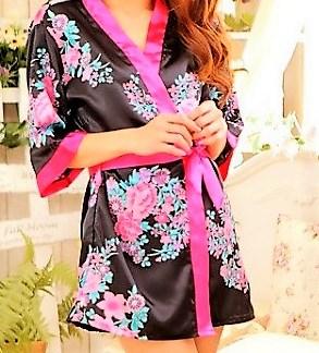 Floral Kimono Satin Bathrobe