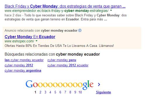 Anuncio de Adwords para el Cyber Lunes