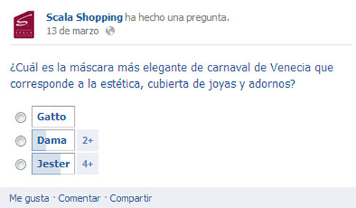 Scala Shopping: Encuestas en Facebook