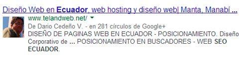 resultado de Google con AuthorShip
