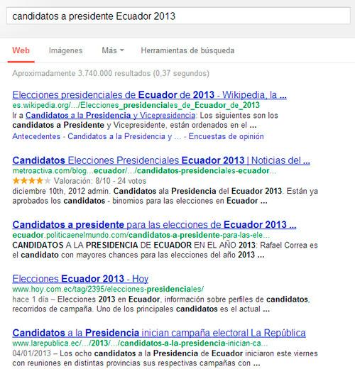 Resultados en el motor de búsqueda más grande del mundo por los aspirantes a la presidencia en el Ecuador