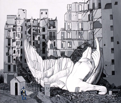 Caídos del Cielo. Batman vs Bizzare Swan   Acrílico sobre tela  170 x 200 cm  2012