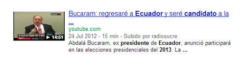Video sobre Abdala Bucaram que aparece en los resultados de Google por candidatos a presidente