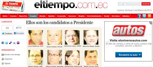Candidatos a presidente en el Ecuador 2013