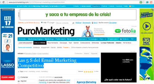 Anuncions de Google Adwords de dos candidatos a presidente en el Ecuador 2013