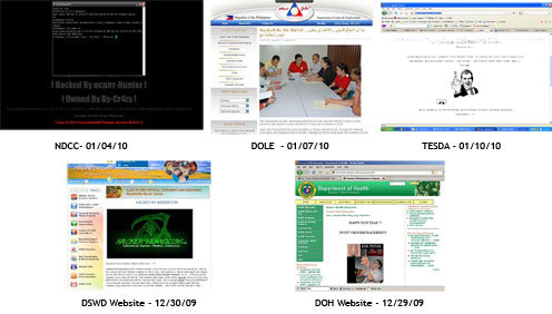 Screenshots of the hacked hompage of several government websites.