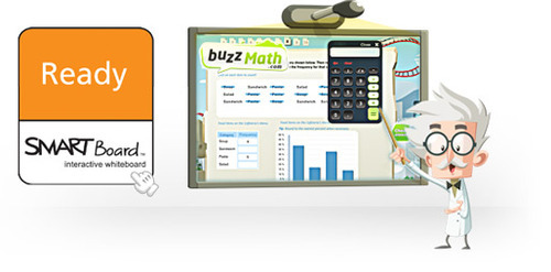 SMART Board Ready logo and BuzzMath on a SMART Board