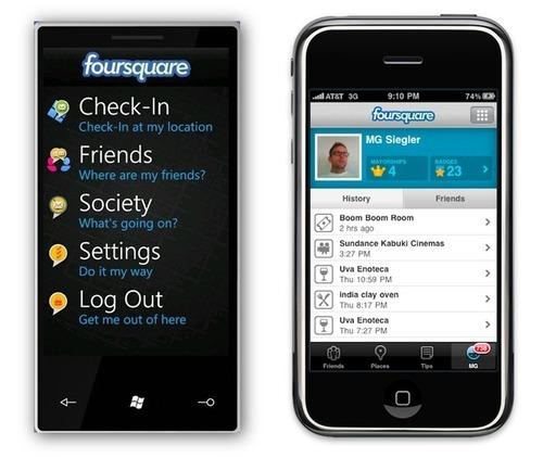 foursquare iphone vs wp7s