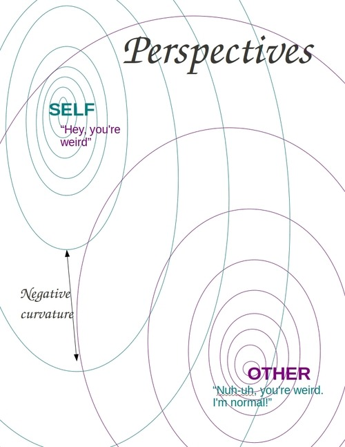 negatively curved metric space for self versus other (privileged group versus minority group)