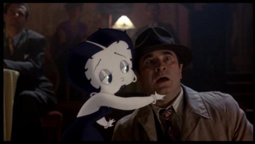 betty boop che chiude la bocca all'ispetore Eddie Valiant
