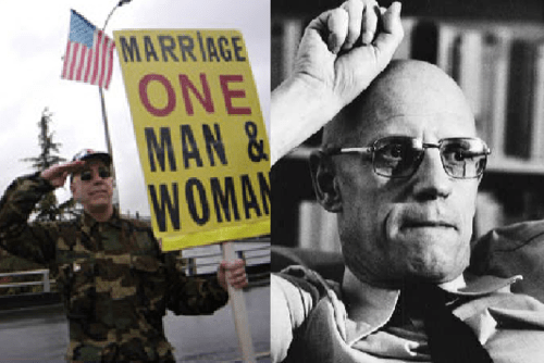 A picture of a man in a quasi-military camouflage fatigues holding up a sign saying *Marriage One Man And Woman* at left; a portrait of French philosopher Michel Foucault at right