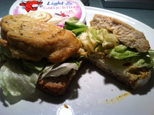 Chicken Sandwich with Ezekial Bread and Laughing Cow Light Wedge