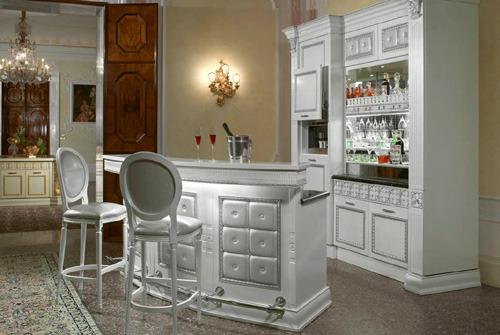 White Home Bar Displays Feminine Design Accents