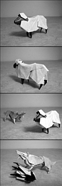 Origami Sheep and Wolf by Hideo Komatsu, Photographed by Lexar
