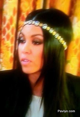 Kourtney Kardashian wearing a studded headband byDeepa Gurnani