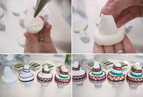 DIY Marshmallow Sombrero Amp Serape Cupcake Toppers