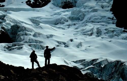 agrietado glaciar por la cara sureste