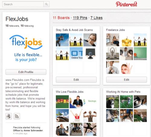 Flexjobs pinterest account