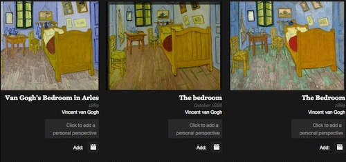 Three van Gogh canvases of his bedroom in Arles