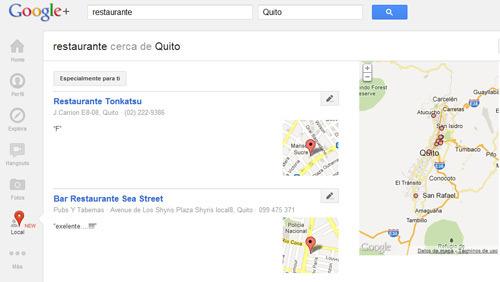Búsqueda local a través de Google+