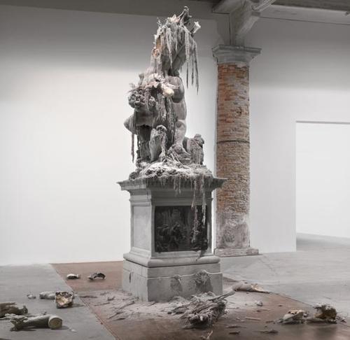 Urs Fischer, Untitled, 2011, wax, pigments, wicks, steel.  On view in the 2011 Venice Biennale [Photo by Stefan Altenburger]