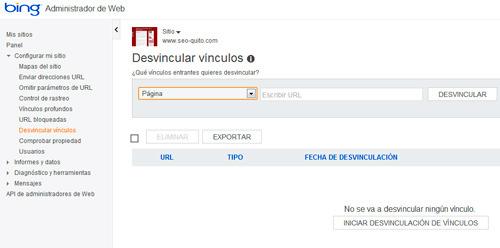 desvincular links a tu página a través de las herramientas de webmaster de Bing