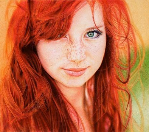 Redhead Girl, VivianaArts, drawing, sketch, Samuel Silva, Ballpoint pen art, bic