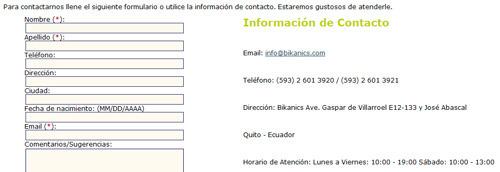 Ejemplo: páginas de contacto - estos datos son importantes para el SEO local