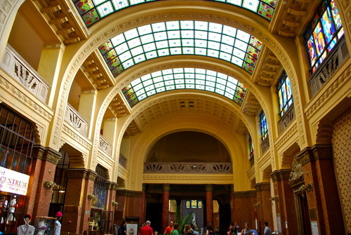 The glamourous foyer of the Gellert Baths in Budapest, Hungary