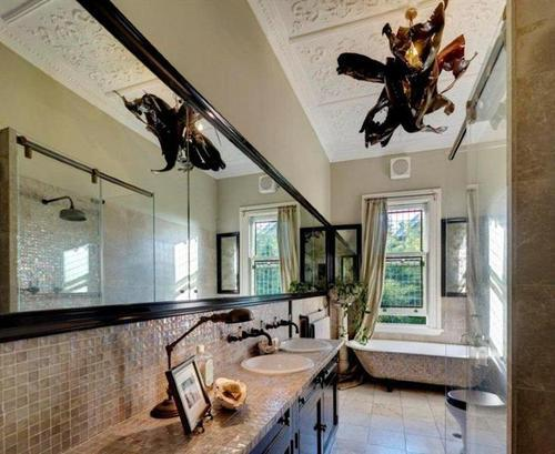 An almost original bathroom, ceiling is Victorian, the light is very Gothic