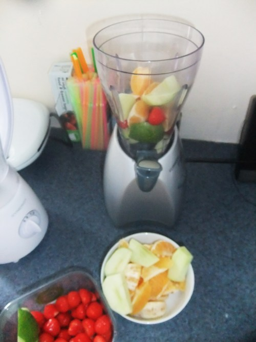 I then added the fruit to the blender.