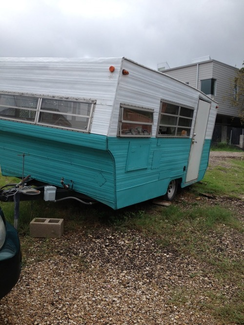 The original trailer that Franklin started in. It now is just sitting in the parking lot.