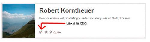 Pinterest: enlace a página web antes de la verificación