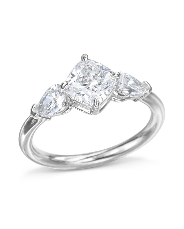 Cushion Cut Three Stone Diamond Ring