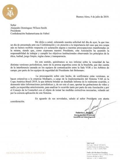 AFA envió una nueva carta a Conmebol