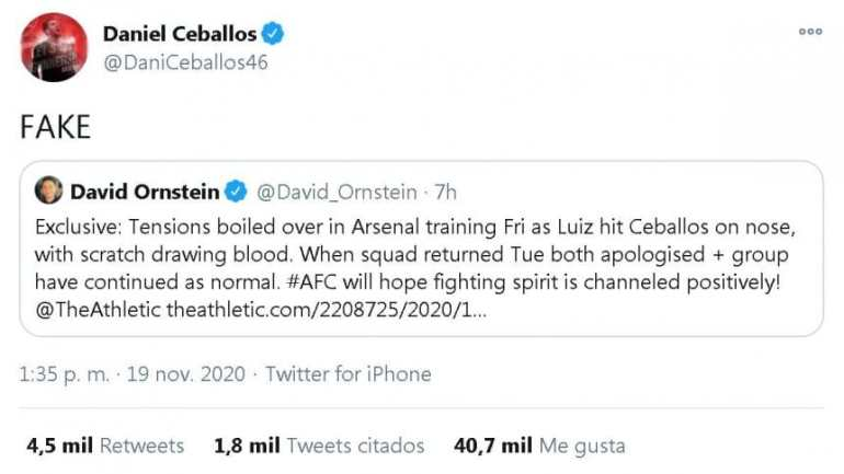 Arsenal: David Luiz would have hit Ceballos in the face