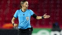 Stéphanie Frappart, the first woman to referee a Champions League match