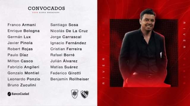 Los convocados de River para enfrentar a Independiente, con todos los titulares y la vuelta de Angileri